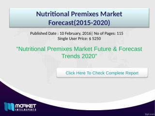 Nutritional Premixes Market Forecast(2015-2020).ppt