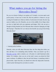 What makes you go for hiring the Mercedes Benz.pdf